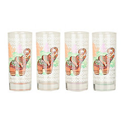 Elephant and Palm Juice Glasses, Set of 4