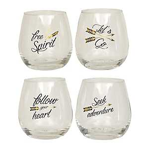 Sentiment Arrow Wine Glasses, Set of 4