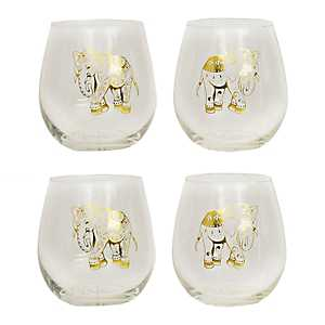 Gold Elephants Stemless Wine Glasses, Set of 4