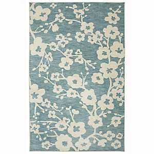 Teal Burbank Blossom Area Rug, 5x8