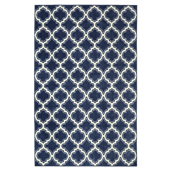 navy calabasas quatrefoil area rug 8x10