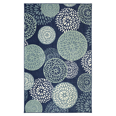 Blue Floral Foliage Area Rug, 5x8