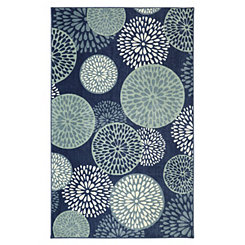 Blue Floral Foliage Area Rug, 8x10