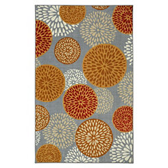 Red Floral Foliage Area Rug, 5x8
