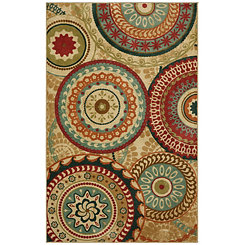 Tan Forest Suzani Area Rug, 8x10