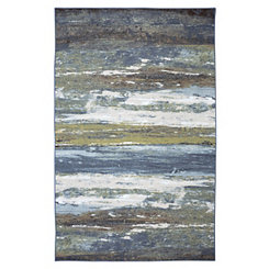 Blue Abstract Shore Area Rug, 5x8