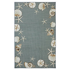 Blue Waimea Bay Seashell Area Rug, 5x8