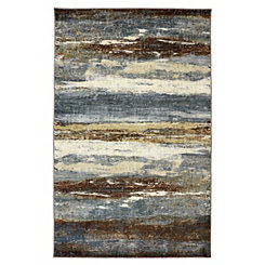 Blue Abstract Sea Striped Area Rug, 5x8