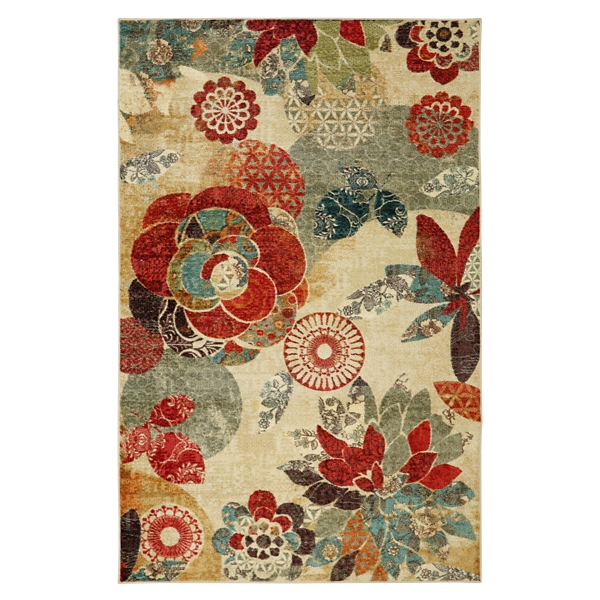 geometric floral area rug 5x8