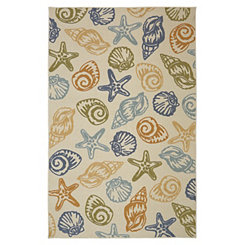 Tan Scattered Seashells Area Rug, 5x8