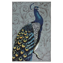 Blue Peacock Area Rug, 8x10