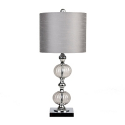 Ribbed Silver Glass Table Lamp