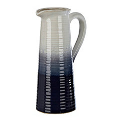 Navy and White Pitcher Vase