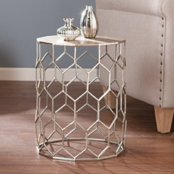 Anietta Silver Metal Accent Table