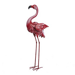 Metal Pink Flamingo Statue