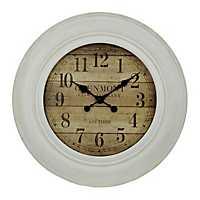 White Wash Wood Slat Wall Clock
