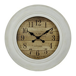 White Wash Wood Slat Wall Clock