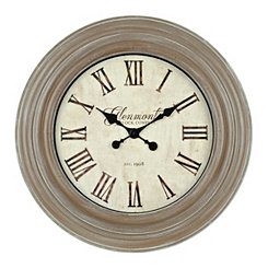 Distressed Vintage Brown Wall Clock