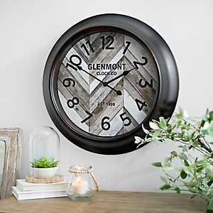 Wood Slat Chevron Round Wall Clock