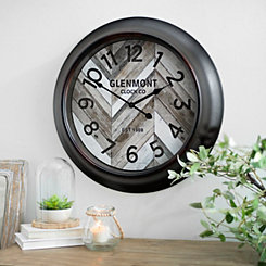 Wood Slat Chevron Round Wall Clock
