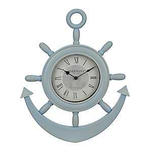 Light Blue Anchor Wall Clock