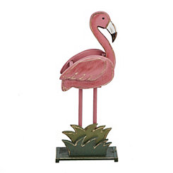 Wooden Pink Flamingo Planter