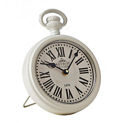 Round White Antique Metal Clock
