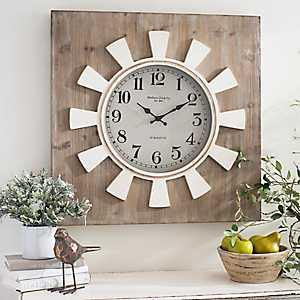 White Sunburst Square Clock
