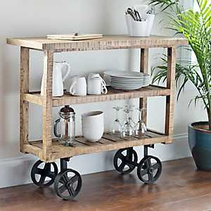 Bengal Mango Wood Industrial Cart