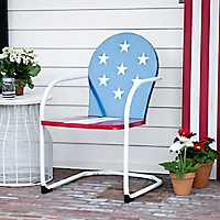 American Flag Metal Chair