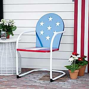 American Flag Metal Chair
