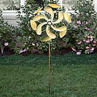 Gold Solar Light Spinner Yard Stake