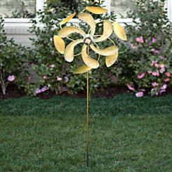 Gold Solar Light Spinner Yard Stake