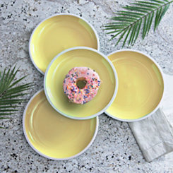 Pastel Yellow Dinner Plates, Set of 4