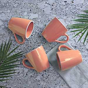 Pastel Orange Mugs, Set of 4