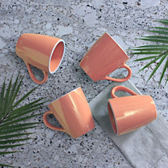 Pastel Orange Mugs, Set of 4
