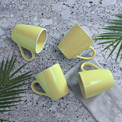 Pastel Yellow Mugs, Set of 4