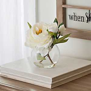 White Peony Arrangement in Glass Planter