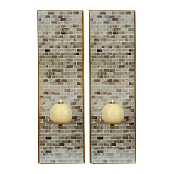 Mother Of Pearl Mosaic Sconces, Set of 2