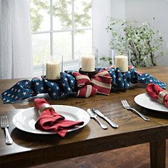 Burlap Patriotic American Flag Centerpiece