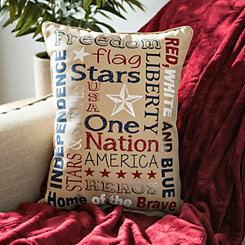 Patriotic Typography Pillow
