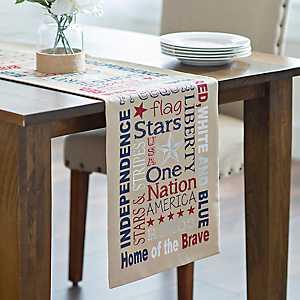 Patriotic Words Table Runner