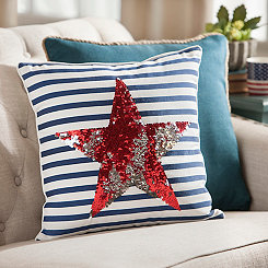Star and Stripes Sequin Pillow
