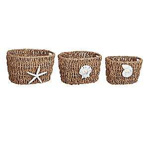 Coastal Woven Baskets, Set of 3