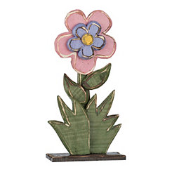 Pink Layered Wood Flower Statue