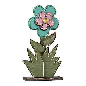 Turquoise Layered Wood Flower Statue