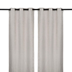 Gray Lancaster Stripe Curtain Panel Set, 84 in.