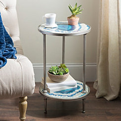 Blue and Silver Geode 2-Tier Accent Table