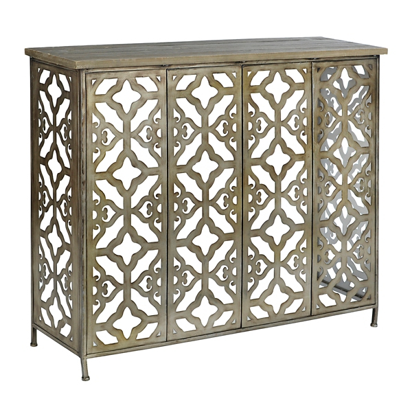 aria wood and metal console table - Metal Console Table