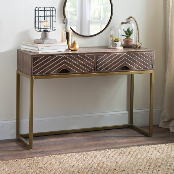 Angled Chevron Wood Console Table